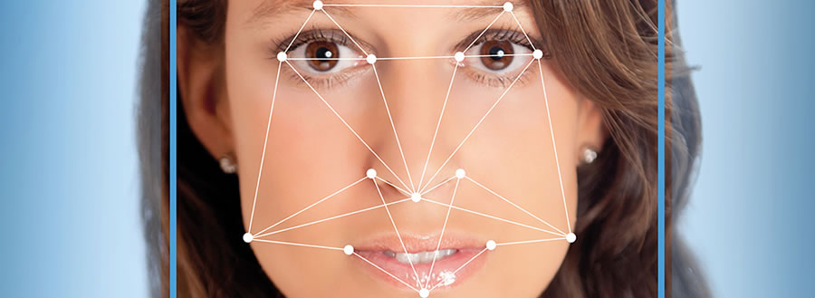 Young woman showing facial recognition overlay