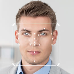 Man's face with recognition points