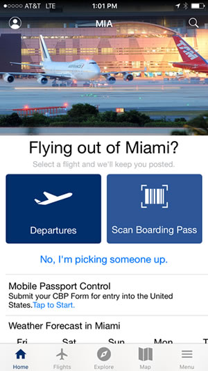 Miami Airport mobile app screen