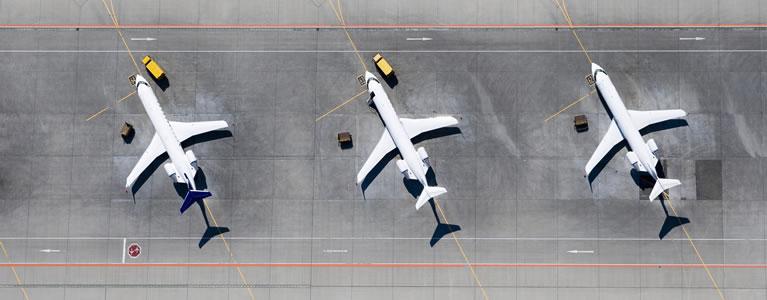 Airial view of three aircraft